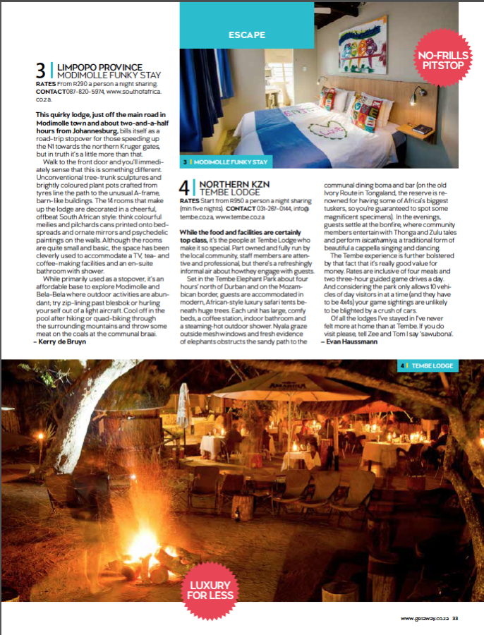 Published in Getaway magazine